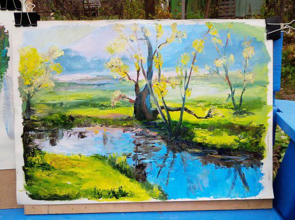 На чем можно рисовать масляными красками - ватман - фото