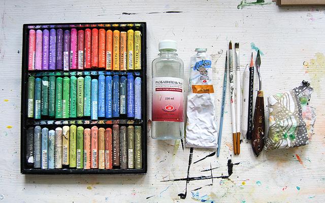 Чем можно рисовать на холсте - пастель - фото