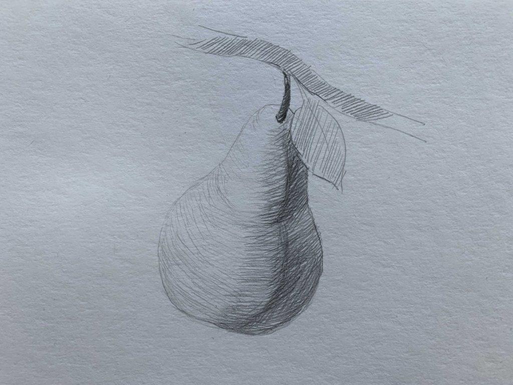 Как нарисовать грушу на ветке 2 этап - фото