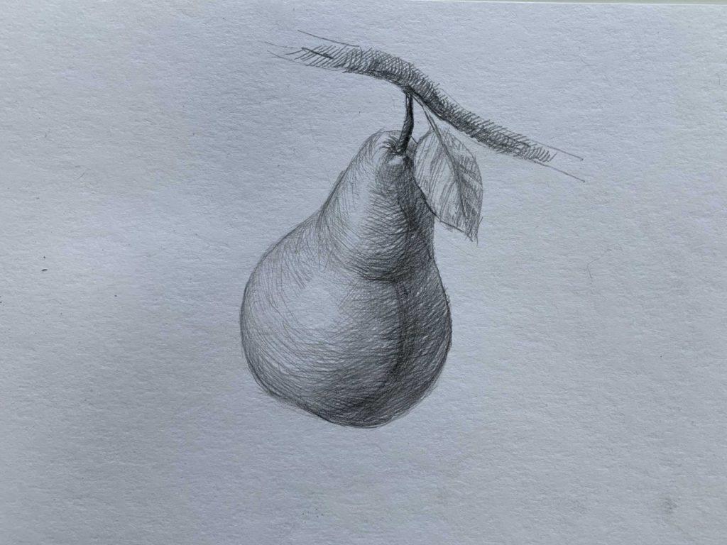 Как нарисовать грушу на ветке 4 этап - фото