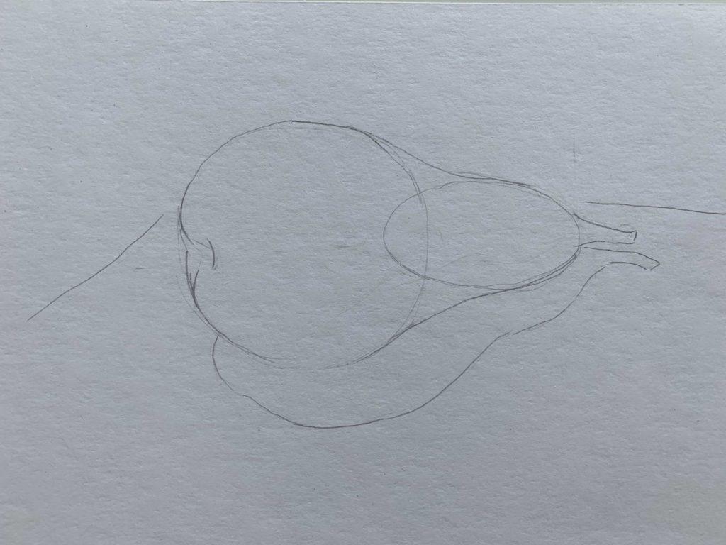 Как нарисовать грушу с тенью 1 этап - фото