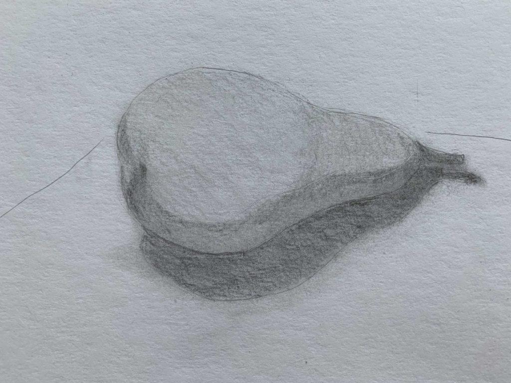 Как нарисовать грушу с тенью 3 этап - фото