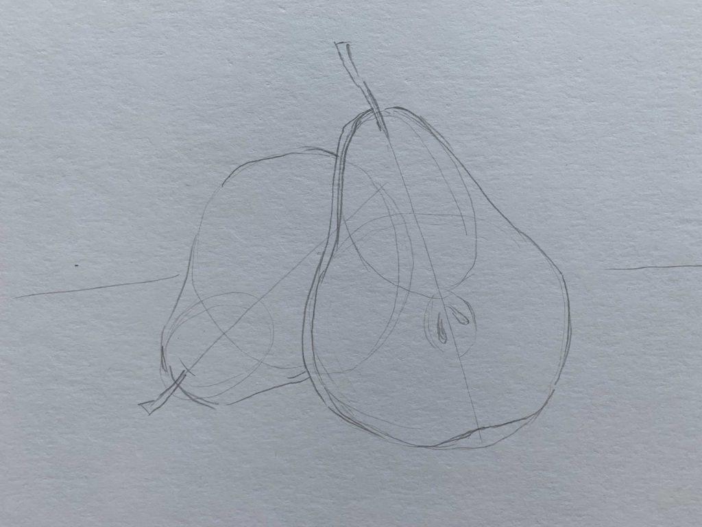 Как нарисовать грушу в разрезе 1 этап - фото