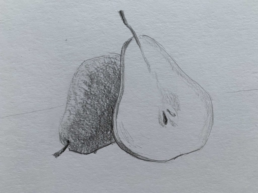 Как нарисовать грушу в разрезе 2 этап - фото