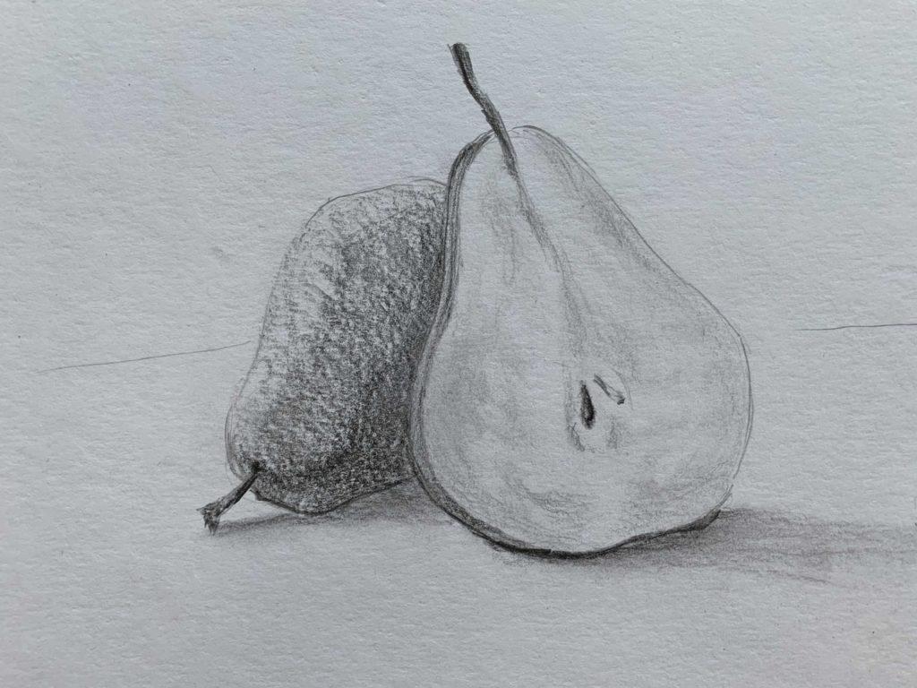 Как нарисовать грушу в разрезе 3 этап - фото