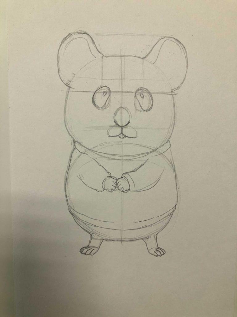 Как нарисовать карандашом хомячка - мультяшный 1 этап - фото
