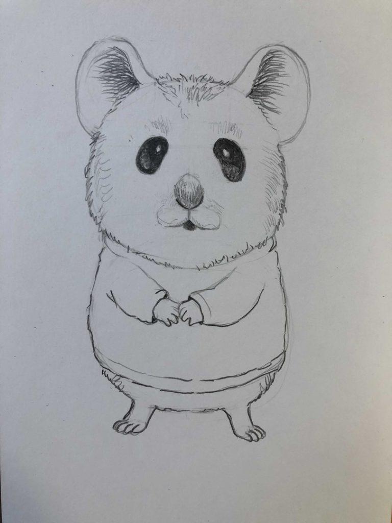 Как нарисовать карандашом хомячка - мультяшный 2 этап - фото