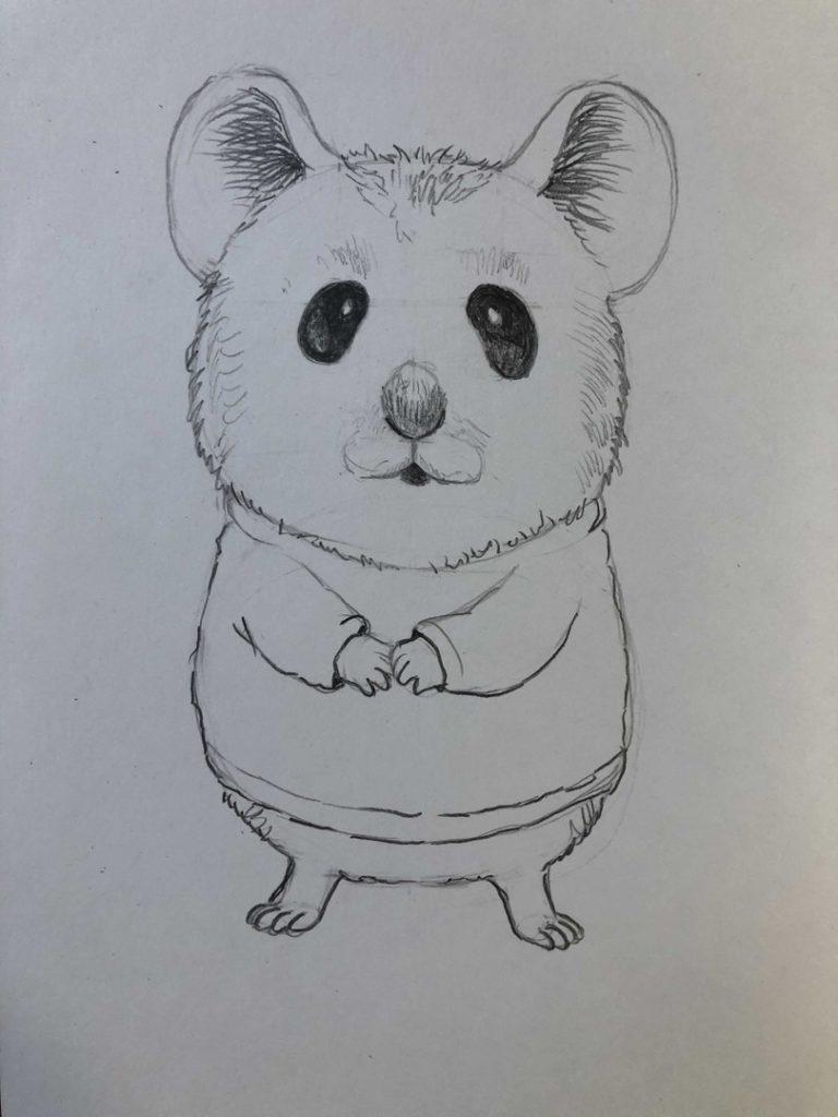 Как нарисовать карандашом хомячка - мультяшный 3 этап - фото