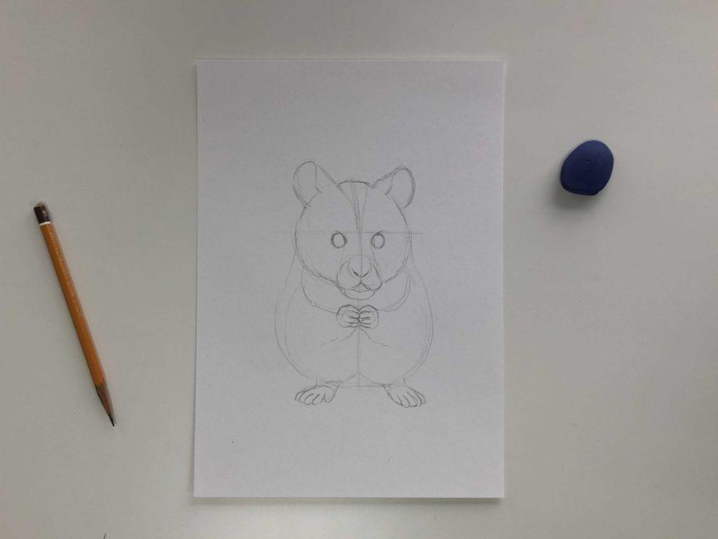 Как нарисовать карандашом хомячка - простой хомяк 1 этап - фото