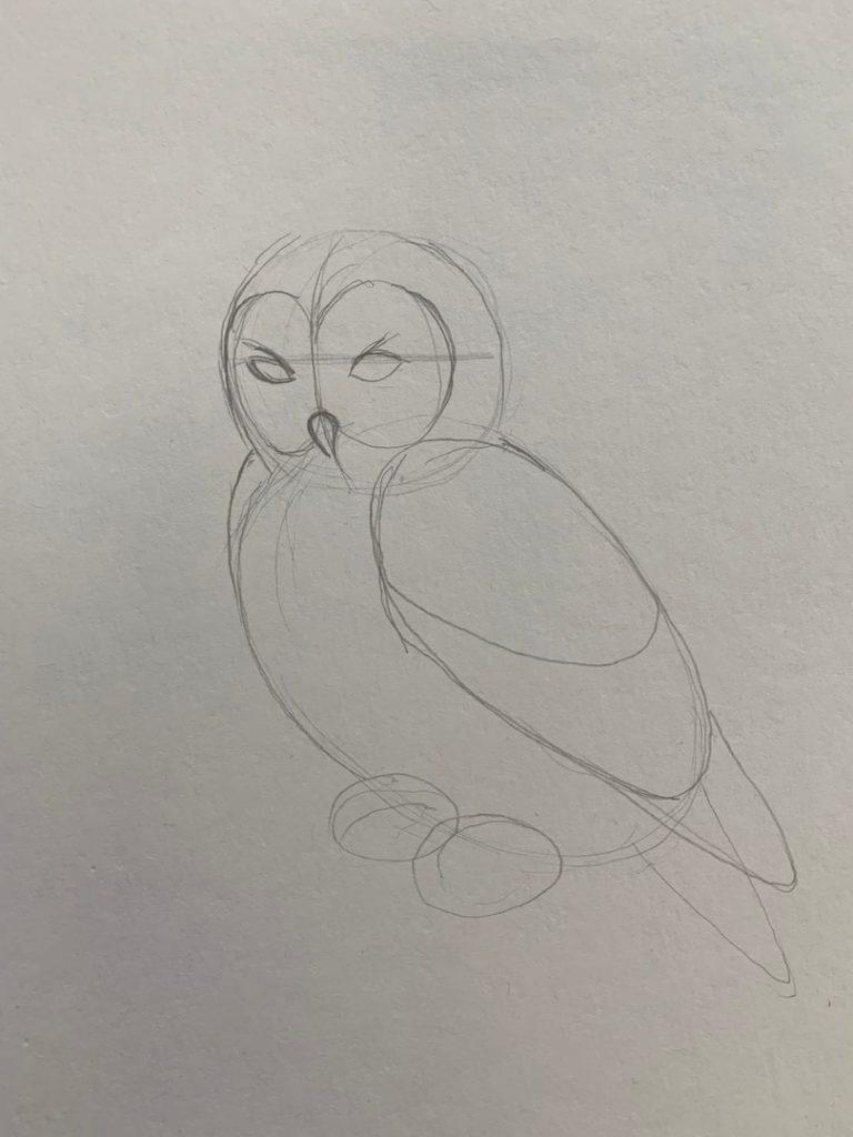 Как нарисовать карандашом сову на ветке 1 этап - фото