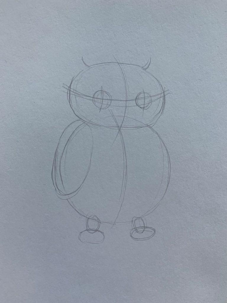 Как нарисовать карандашом сову - простая сова 4 этап - фото