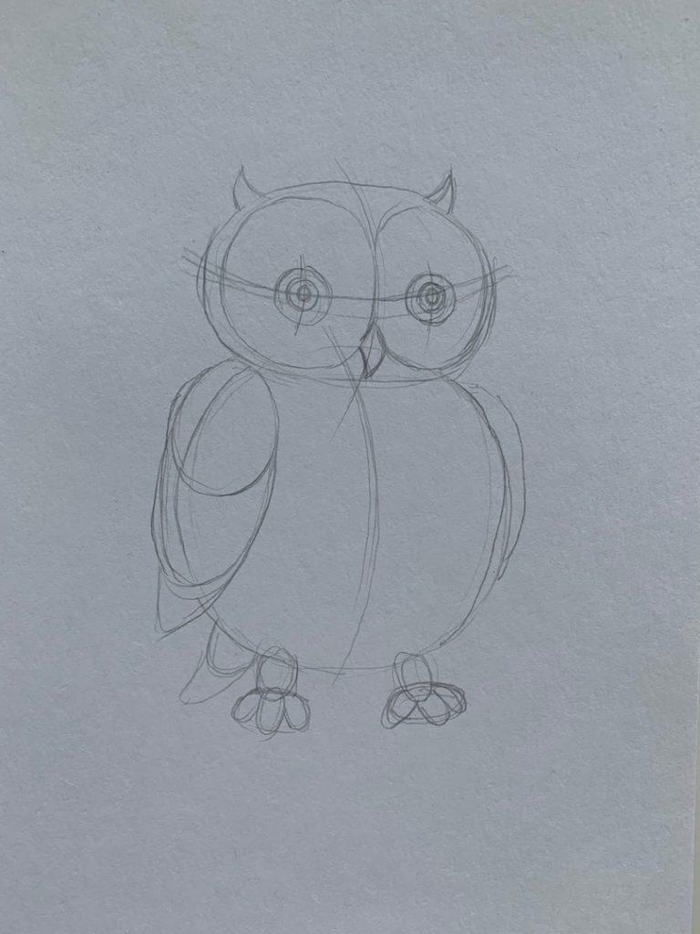 Как нарисовать карандашом сову - простая сова 2 этап - фото
