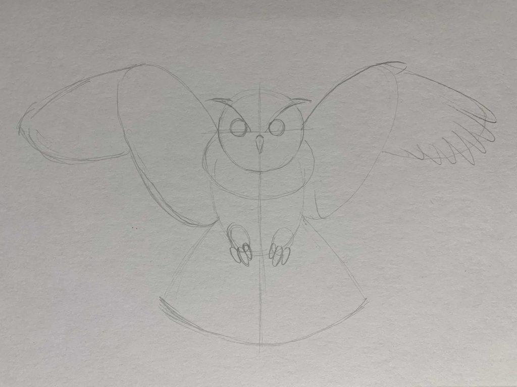 Как нарисовать карандашом сову с расправленными крыльями 2 этап - фото