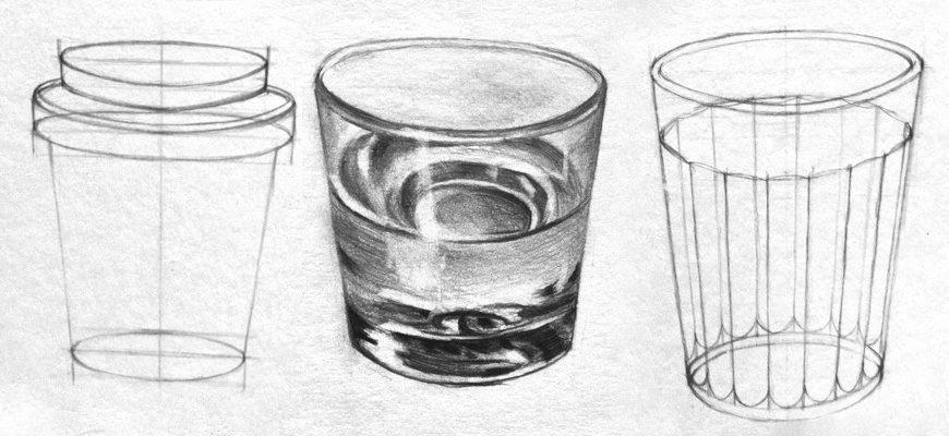 Как нарисовать карандашом стакан поэтапно - фото