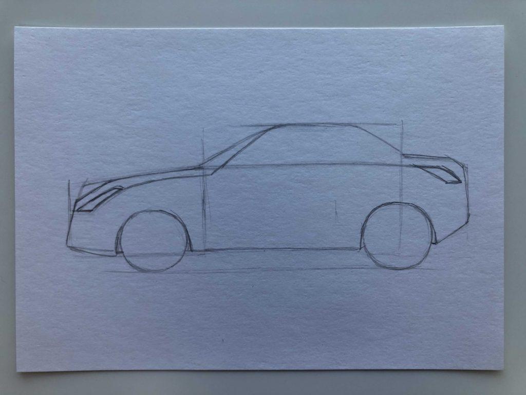 Как научиться рисовать карандашом - машина 3 этап - фото