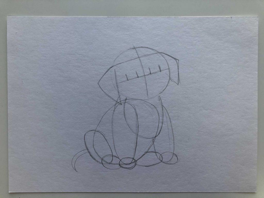 Как научиться рисовать карандашом - собака 1 этап - фото