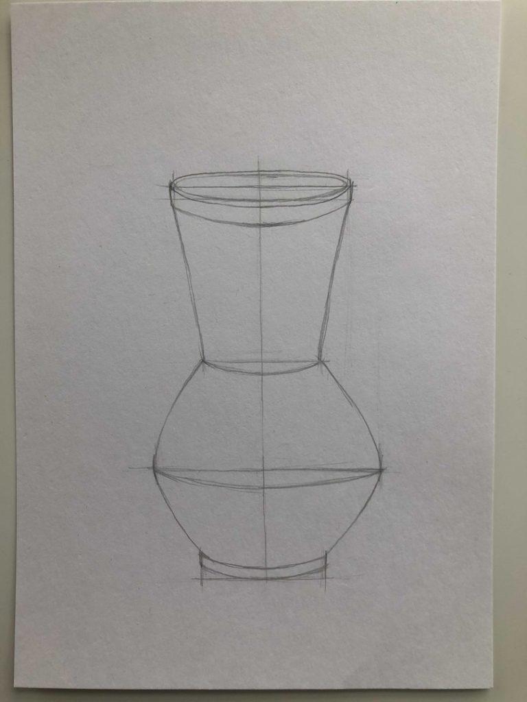 Как научиться рисовать карандашом - ваза 2 этап - фото