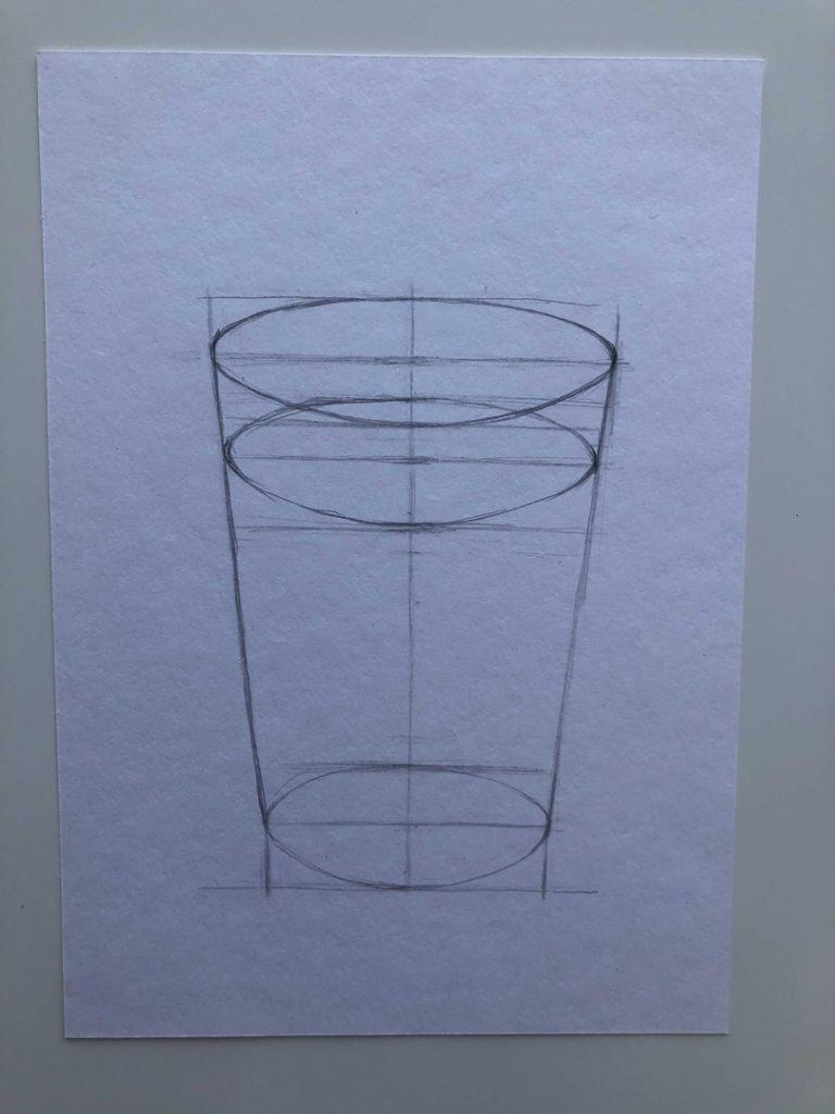 Как поэтапно нарисовать карандашом граненый стакан 2 этап - фото
