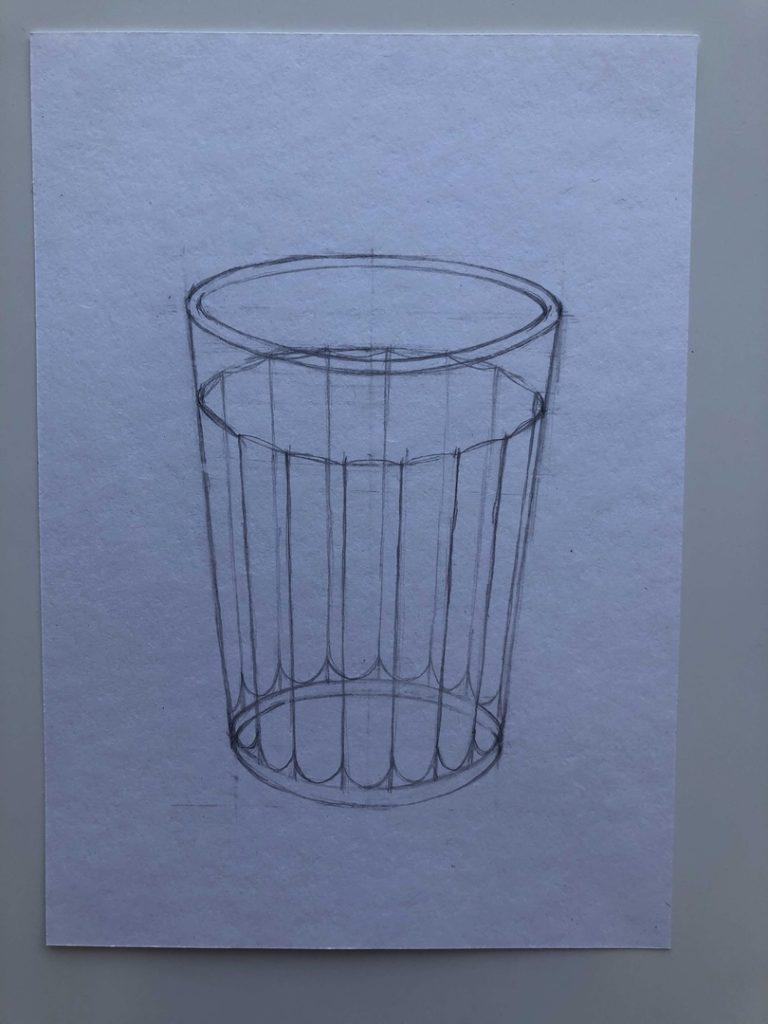 Как поэтапно нарисовать карандашом граненый стакан 3 этап - фото