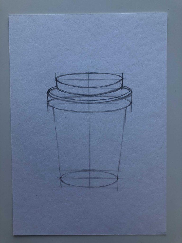 Как поэтапно нарисовать карандашом кофейный стакан 3 этап - фото