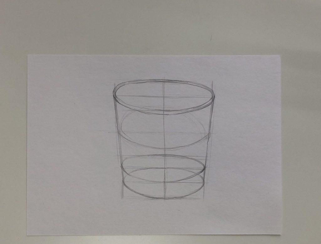 Как поэтапно нарисовать карандашом стакан с водой 1 этап - фото
