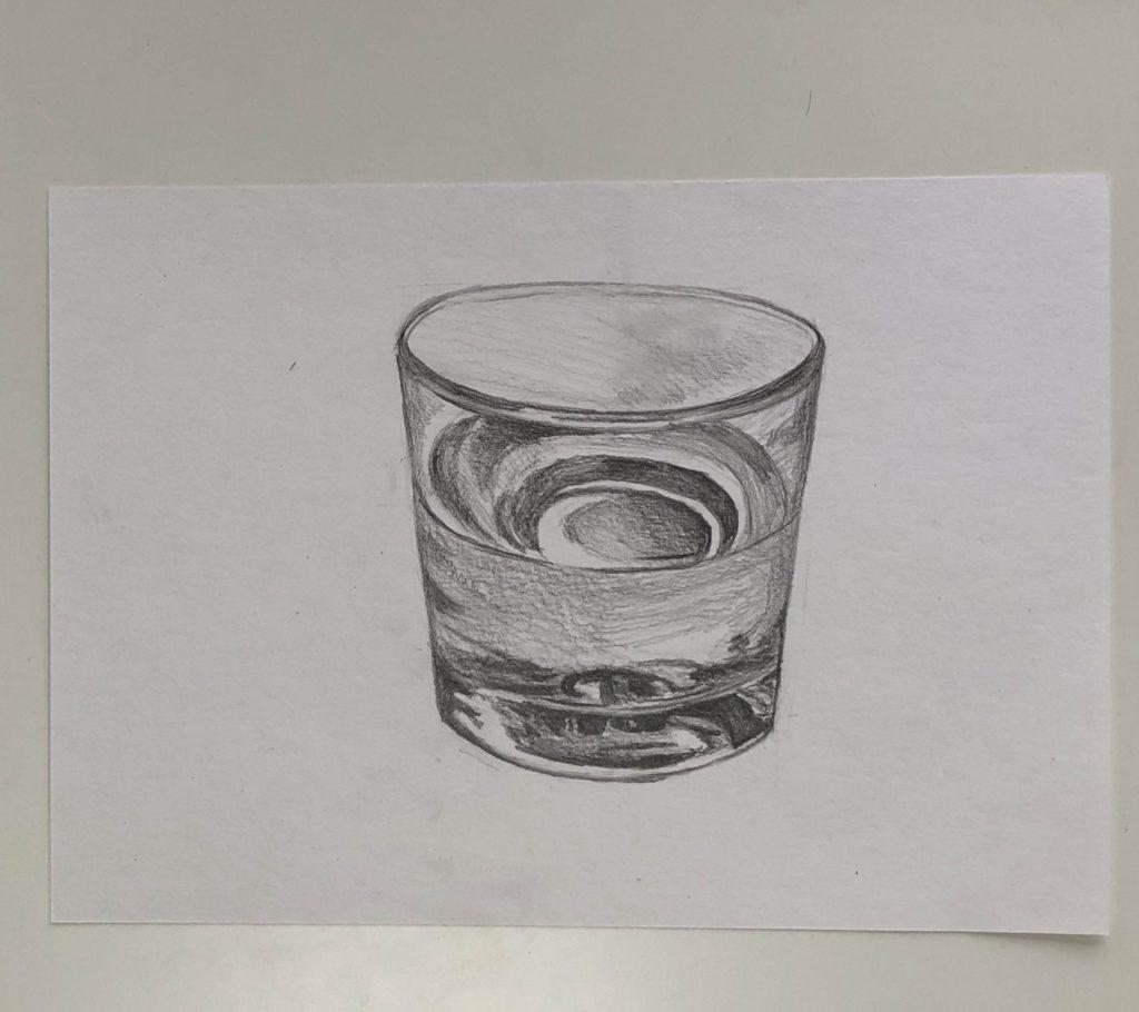 Как поэтапно нарисовать карандашом стакан с водой 3 этап - фото