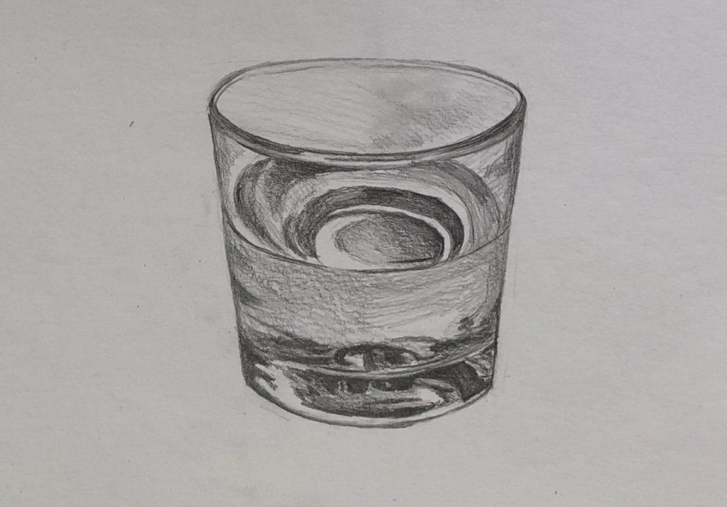 Как поэтапно нарисовать карандашом стакан с водой 4 этап - фото