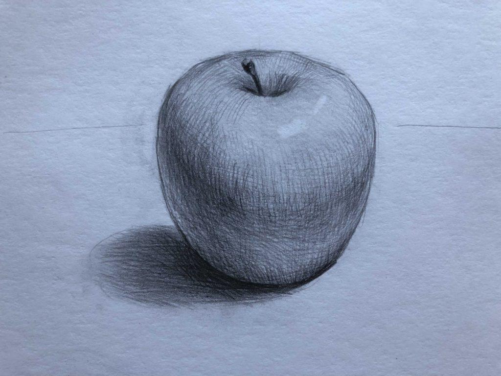 Какие бывают штриховки в рисовании - рисунок яблока - фото