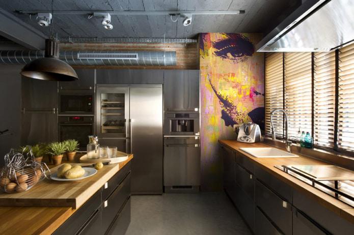 Какую картину повесить на кухне - стиль лофт - фото