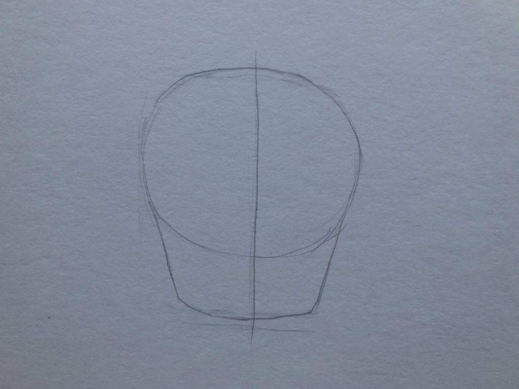 Рисуем откусанное яблоко 1 этап - фото