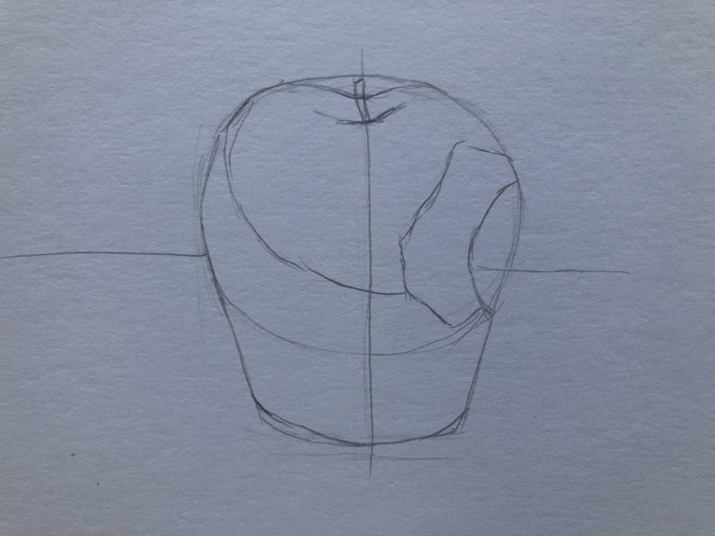 Рисуем откусанное яблоко 2 этап - фото