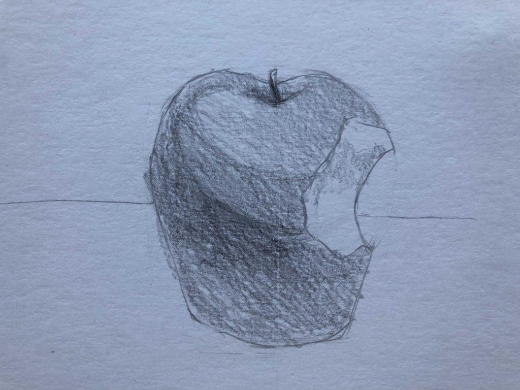 Рисуем откусанное яблоко 3 этап - фото