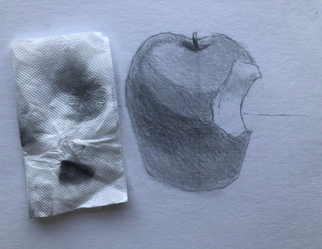 Рисуем откусанное яблоко 4 этап - фото