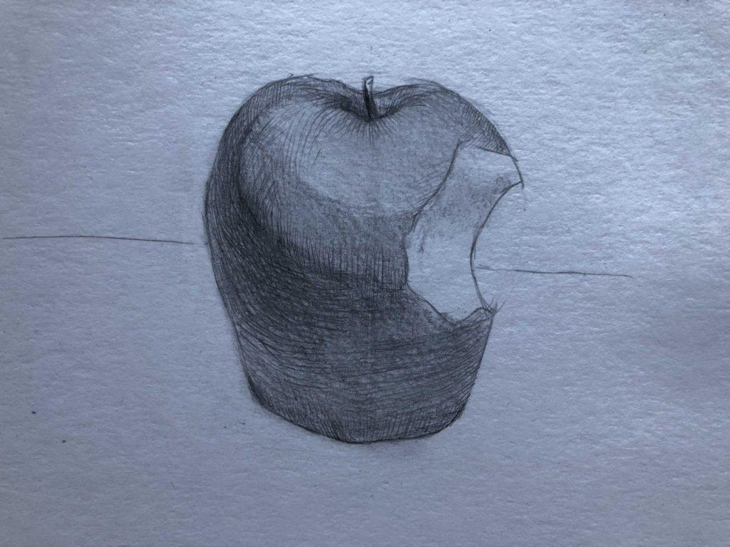 Рисуем откусанное яблоко 5 этап - фото
