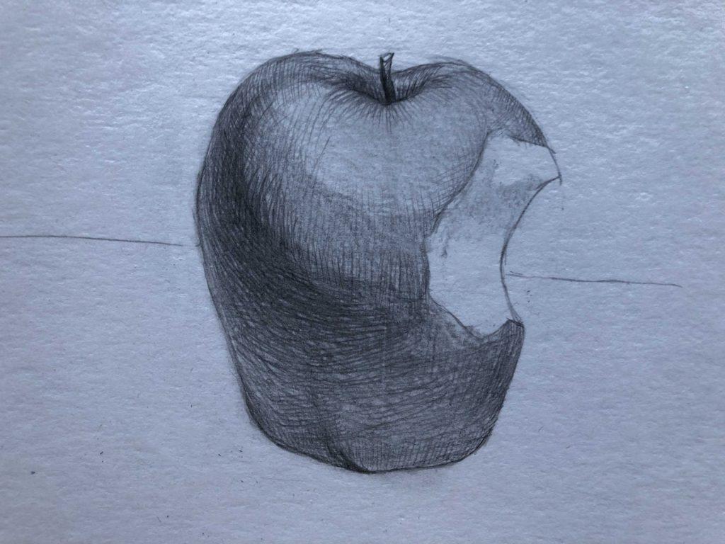 Рисуем откусанное яблоко 6 этап - фото