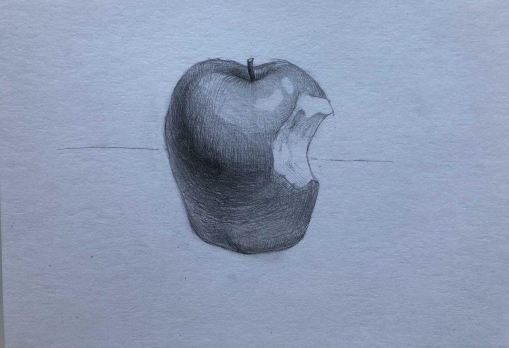 Рисуем откусанное яблоко 7 этап - фото