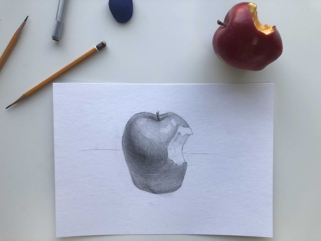 Рисуем откусанное яблоко - заключительный этап - фото