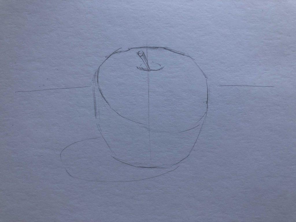 Рисуем яблоко с тенью 1 этап - фото