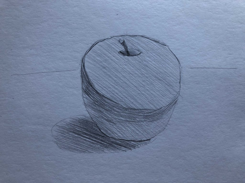 Рисуем яблоко с тенью 2 этап - фото
