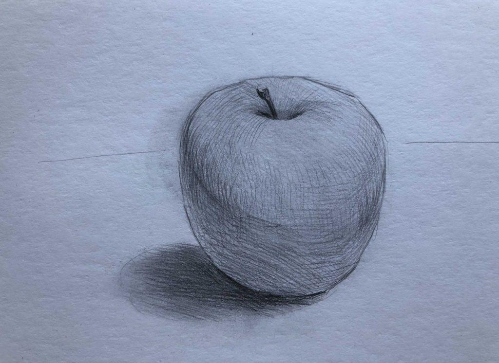Рисуем яблоко с тенью 3 этап - фото