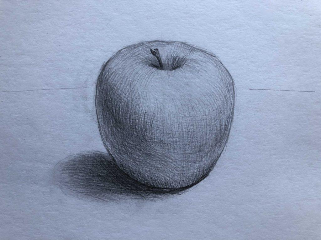 Рисуем яблоко с тенью 4 этап - фото