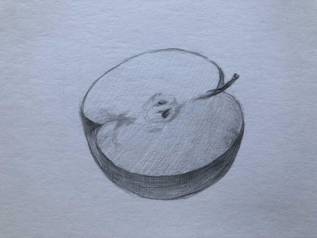 Рисуем яблоко в разрезе 3 этап - фото