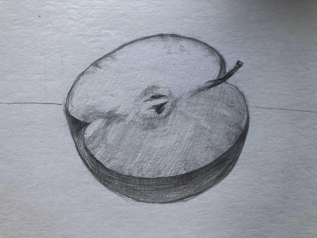 Рисуем яблоко в разрезе 4 этап - фото