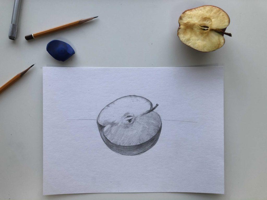 Яблоко рисунок карандашом для начинающих - фото