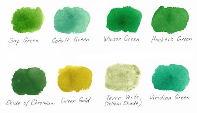 Из чего делают акварельные краски - оттенки зеленого - фото