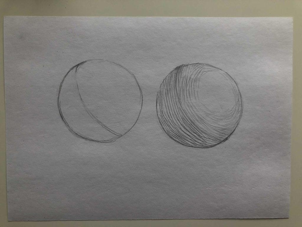Как штриховать шар - 2 этап - фото