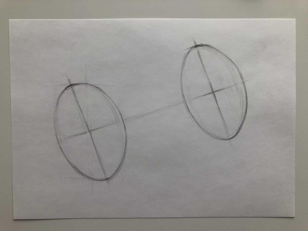 Как нарисовать цилиндр карандашом поэтапно - 2 этап лежачий цилиндр - фото