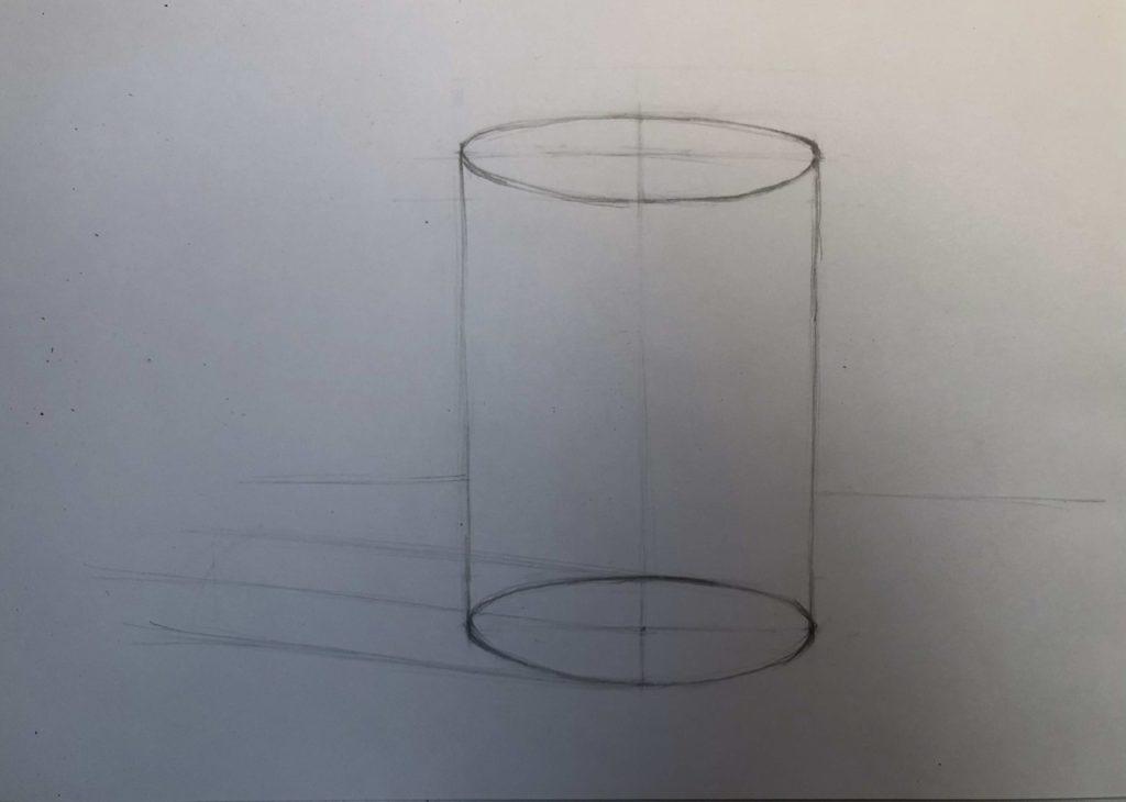 Как нарисовать цилиндр карандашом поэтапно - 2 этап цилиндр - фото