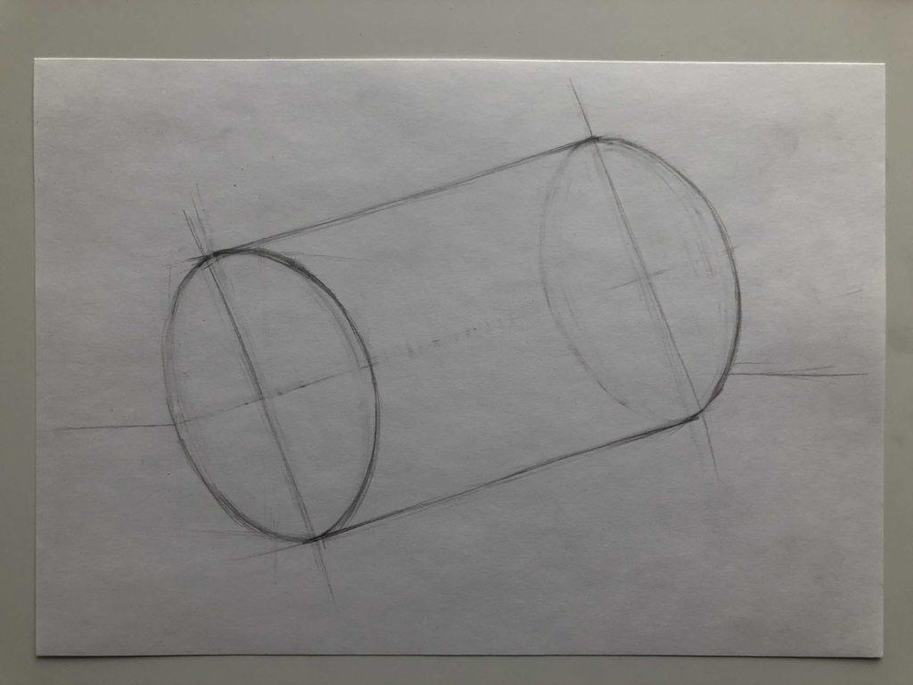 Как нарисовать цилиндр карандашом поэтапно - 3 этап лежачий цилиндр - фото