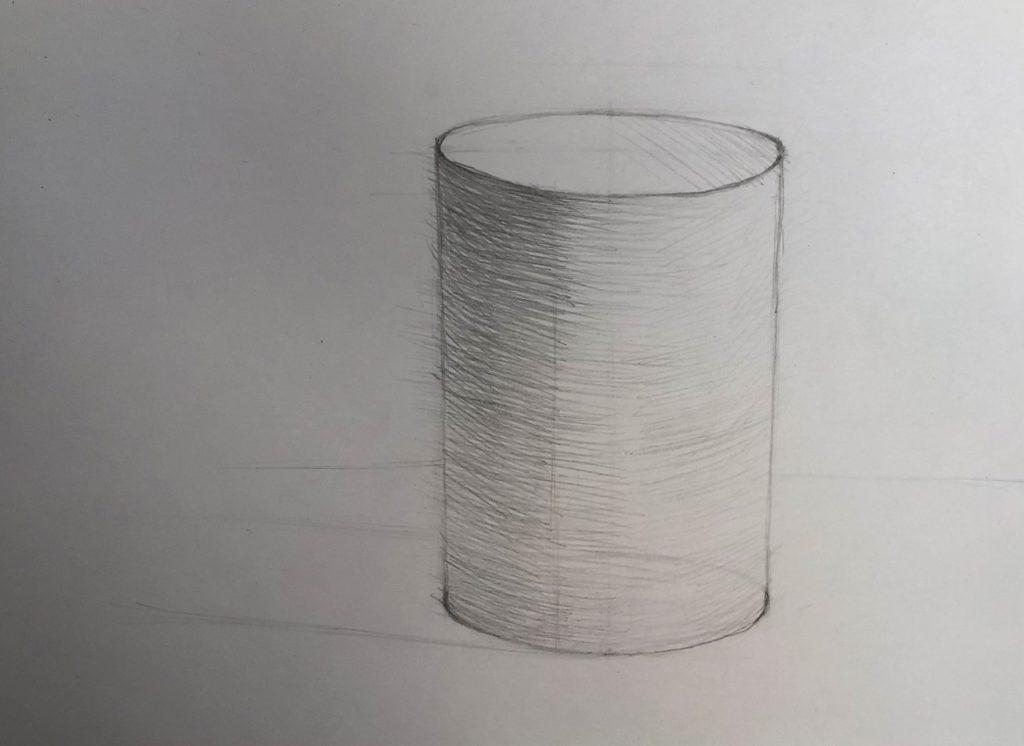 Как нарисовать цилиндр карандашом поэтапно - 3 этап цилиндр - фото